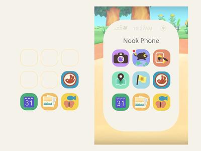 Nook Phone Apps Concept vector nintendo adobe illustrator adobe xd concept nook phone new horizon animal crossing game app ux ui