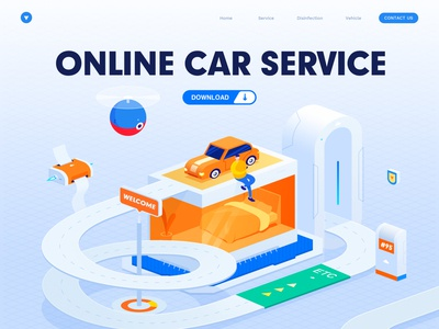 ONLINE CAR SERVICE pidemic prevention car service insurance policy violate regulations web isometric 小五 car illustration