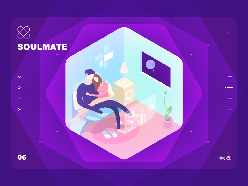 Soulmate future cool isometry illustration 2.5d soulmate love