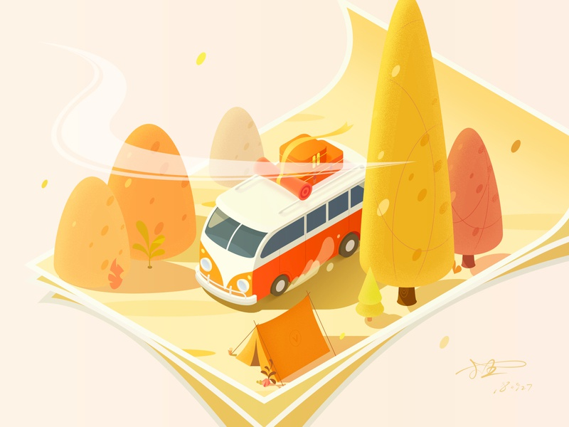 An Autumn Outing camping sunlight car isometry 2.5d illustration tour outing autumn
