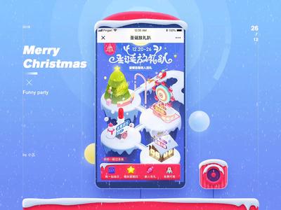 Merry Christmas isometric merry christmas funny party snow snowman amusement park santa claus christmas tree ui isometry 2.5d illustration