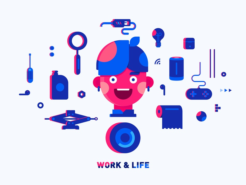 Work &  Life entertainment tool tyres airpods game self-portrait life illustration car work