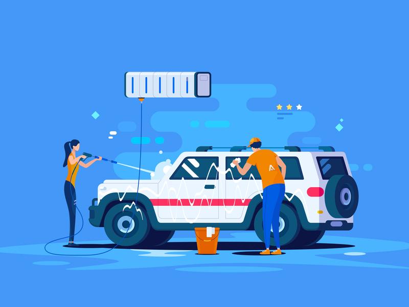 Car Wash 小五 automobile service suv water service vector cooperation pingan car wash 汽车 插图