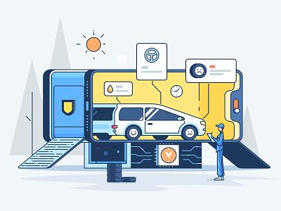 On-line Vehicle Detection illustration car 小五 data service vehicle detection design tyre security on-line automobile service