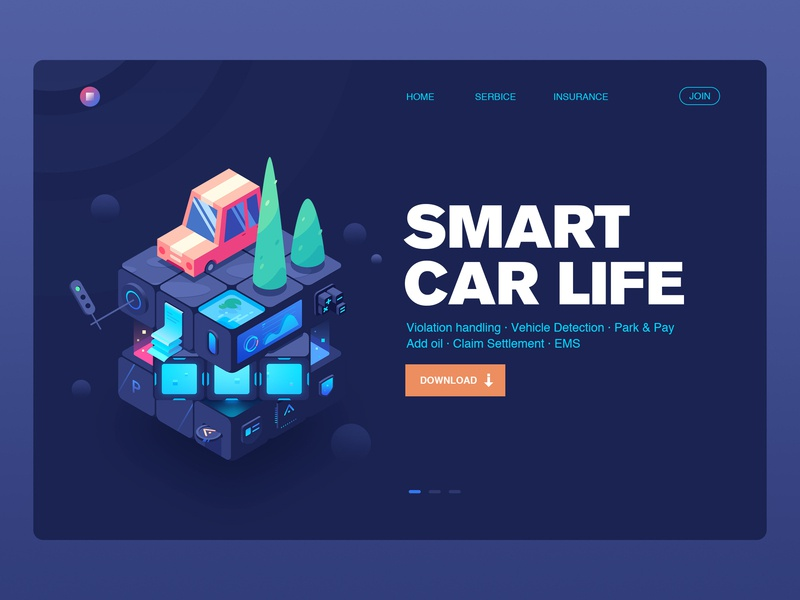 Smart  Car Life isometric ui design web claim settlement add oil park  pay vehicle detection violation handling magic cube automobile service service data 小五 isometry 2.5d car illustration