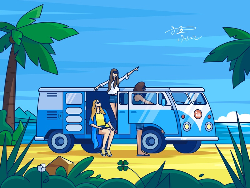 Self Driving Tour bus outing companions coconut tree sandy beach sightseeing car summer 小五 car illustration