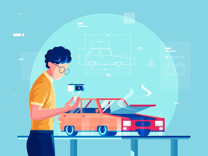 Car Maintenance doctor maintain testing repair data a design chart science and technology holographic projection car maintenance 小五 car illustration
