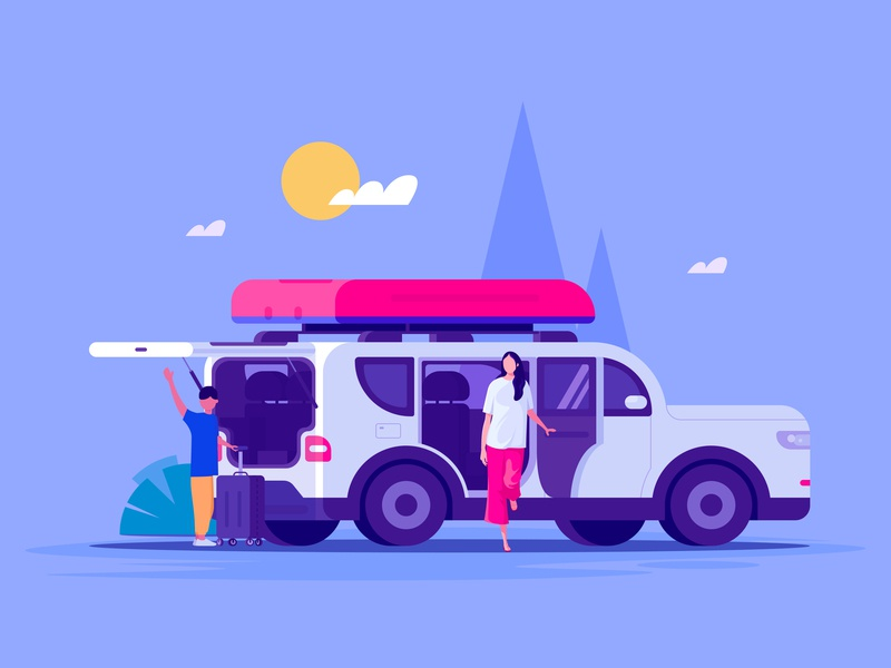 Travel wagon self driving tour travel car illustration