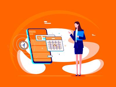 Online Booking secretary customer service service mobile phone on-line make an appointment orange illustration