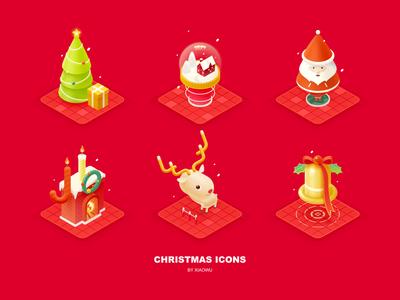 Christmas Icons icon santa claus crystal ball christmas gift christmas tree 2.5d illustration isometric