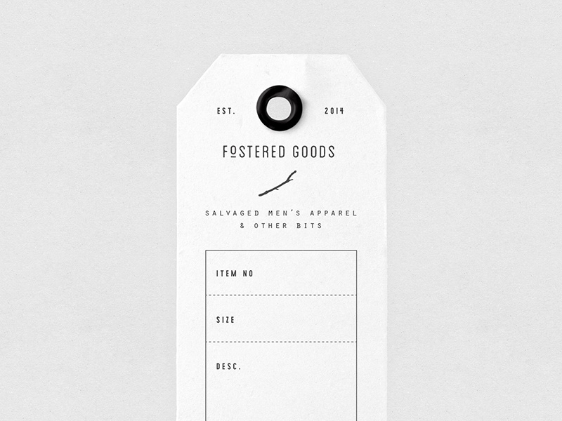 Fostered Goods Tag menswear authentic logo identity brand vintage design apparel tag