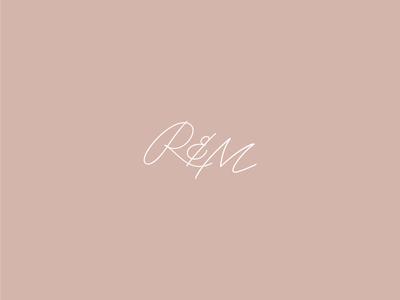 R & M simple minimal script type initials logo monogram logomark identity wedding