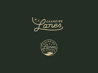 Changing Lanes Travels patch vintage travel script typography badge logomark logo