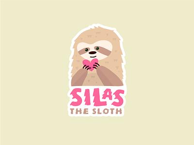 Silas the Sloth illo pink valentine illustration sloth