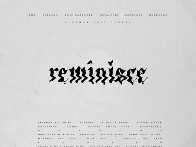 Reminisce emo nostalgia minimal typography album art playlist spotify