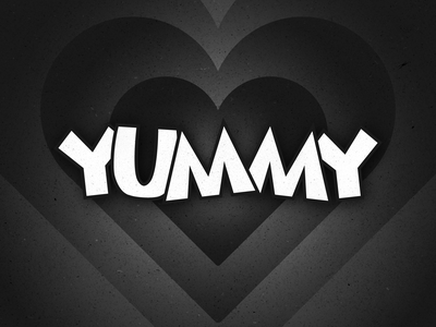 YUMMY typography customtype type valentinesday love heart oldcartoon cartoon 1930 valentines release album yummy