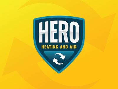 Hero Heating and Air charleston typography shield type design south carolina design branding type logo