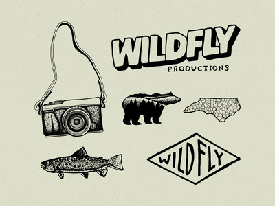 Wild Fly Productions ink pen vintage rustic organic videographer editing video filmmaker film north carolina boone illustration logo badge branding elements flash sheet branding identity design