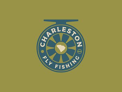 Charleston Fly Fishing carolina fishing reel reel fishing rod brand identity brand design logo badge logo charters fly fishing