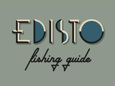 Edisto Fishing Guide. word mark wordmark logo wordmark script typography art deco deco retro custom type type