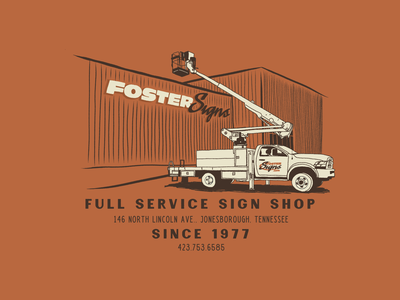 Fosters truck business burnt fresco rugged illustration signshop