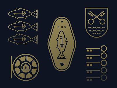 Lowcountry Realtor Branding Elements. keytag badge logo brand identity branding redfish reddrum fishing fly fishing reel realtor key