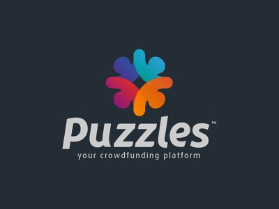 Puzzles texture puzzle logo crowdfunding colours circle branding brand identity