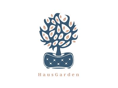 Haus Garden bio garden sofa tree logo lounge cafe leaf coffee bar brand identity brand branding logo