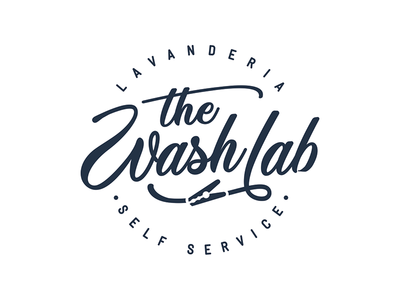 The Wash lab typography lettering black draw retro circle old hanger clothes glyndon script washing service wash laundry logotype logo