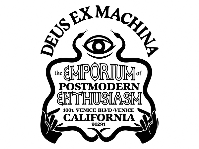 Deus Ex Machina Quaran-Tee Competition Back venice california vintage snake eye hands typography design deus ex machina illustration
