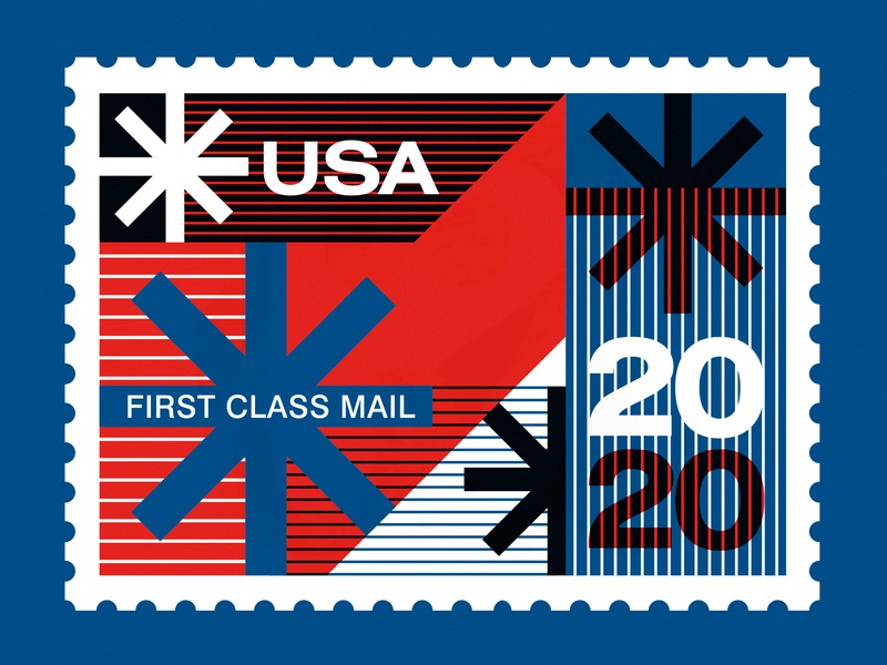 "Save the USPS - ""Neither Snow..."" typography swiss design post office mail stamps stamp snow color usps poster illustration"
