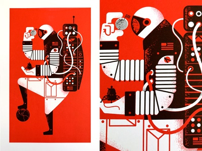 Astro-Man Riso Print texture riso print apollo moon poster nasa space illustration riso