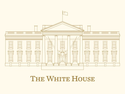 White House artwork for the Biden-Harris Administration architectural visualization architectural illustration architectural design branding blueprint architecture white house design vintage illustration