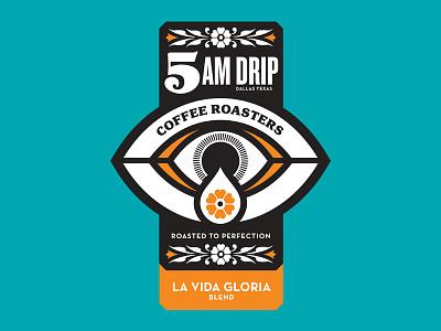 5AM Drip Coffee badge typography eye badge sticker