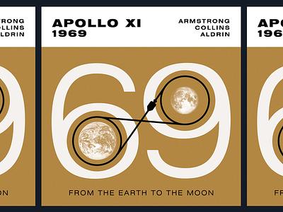 July 20, 1969 - Apollo XI space nasa moon illustration badge astronaut apollo11