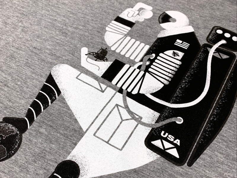 Astro-Man Tee.  Now available! shirt texture vector astronaut nasa screenprint space moon tshirt design tee tshirt vintage