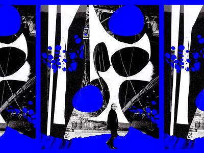 Unused magazine illustration editorial art white black texture handmade cutpaper abstract collage illustration vintage