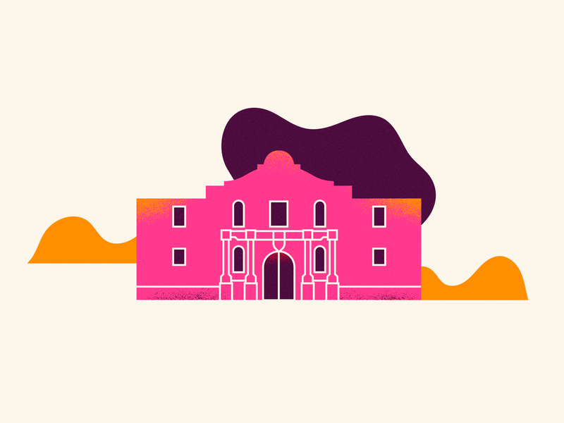 Remember the Alamo! vector lines wip icon design texture vintage texas alamo building icon