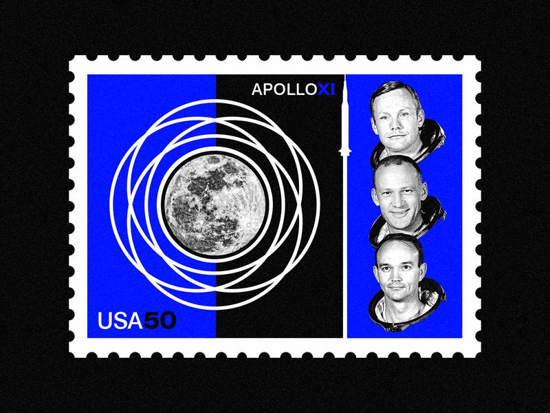 Apollo XI - 50th Anniversary swiss design collage poster vector vintage badges stamp space nasa