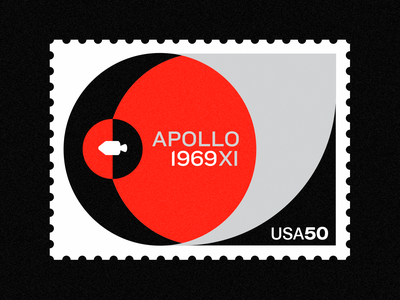 Apollo XI - 50th Anniversary vintage vector swiss design stamp space poster nasa collage badges