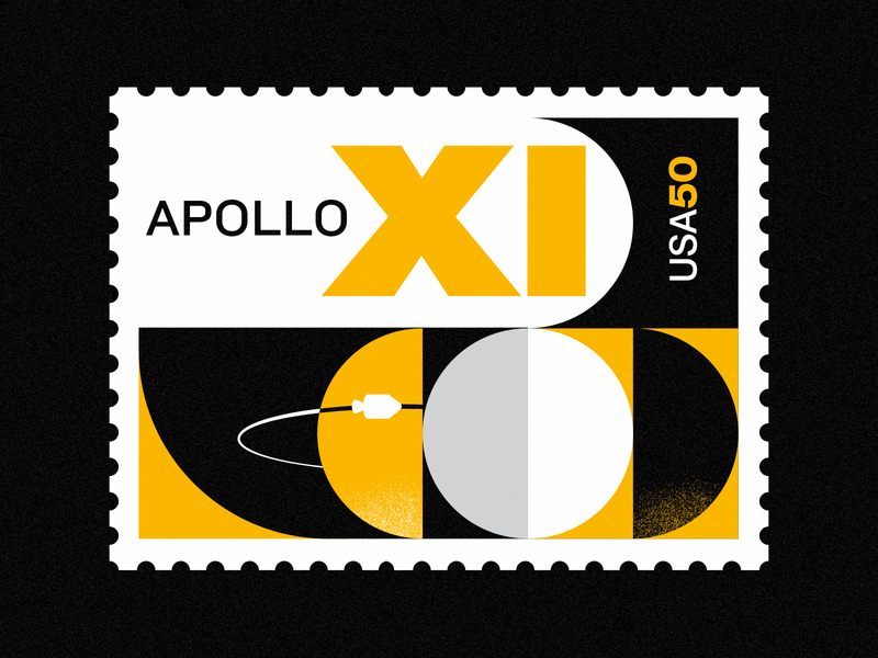 Apollo XI - 50th Anniversary illustration space art apollo swiss design stamp nasa moon landing vintage moon space