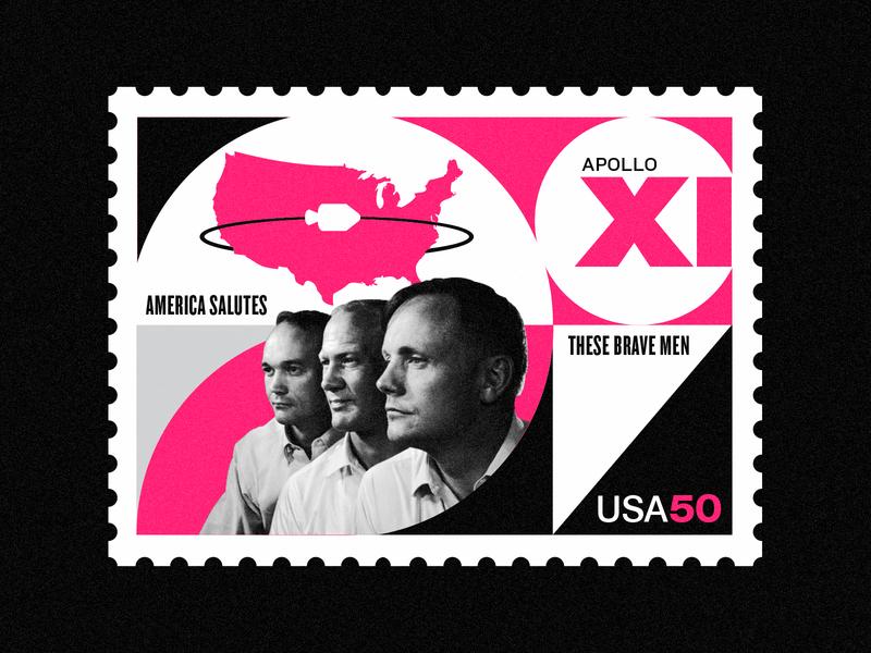 Apollo XI - 50th Anniversary swiss design stamp collage illustration nasa art vintage space