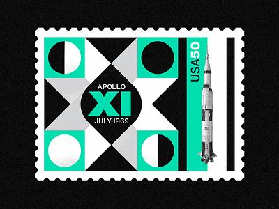 Apollo XI - 50th Anniversary vector design spaced vintage logo texture apollo11 stamp moon illlustration apollo