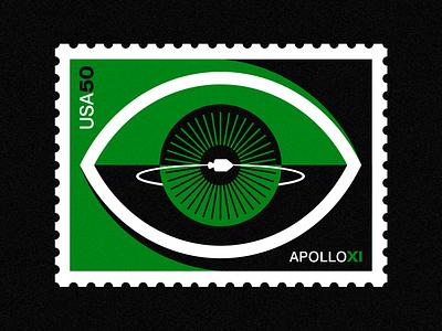 Apollo XI - 50th Anniversary- Stamp 6 badge eye stamp nasa space vintage illustration