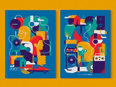 NPR Notebook Final Colors future headphones airpod listen people npr illustration vintage