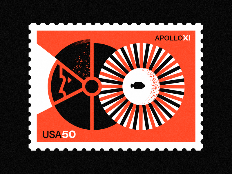 Apollo XI - 50th Anniversary- Stamp 7 swiss space texture color nasa illustration vintage