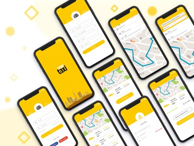 All Screen of Town Taxi Mobile App