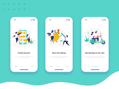 Onboarding Screen : Money Saver App money app onboarding illustration ios ui ux onboarding screen iphone x onboarding app ui illustration