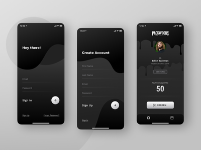 Minimalist App Design dark theme drip liquid app screens application branding ios mobile app design minimalism app ux design ui design ux ui user profile home screen create account sign up sign in