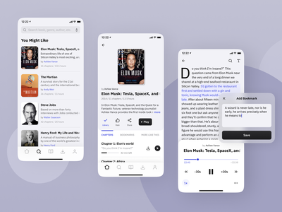 Audiobooks App Mockups text books dialog app mobile app design ux design ux ui design ui player chapters bookmarks flat design ios product design audiobooks application app design minimalism light theme